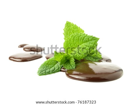 Liquid chocolate with mint leaves