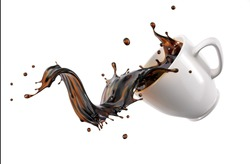 Liquid cofee spilling/splashing out from a white cup/mug isolated on white background.