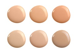 Liquid concealer cream smear smudge swatch drop isolated. Make up foundation shades sample round shape for beauty catalog. Nude cosmetic BB cream liquid foundation moisturizer. Beige powder concealer