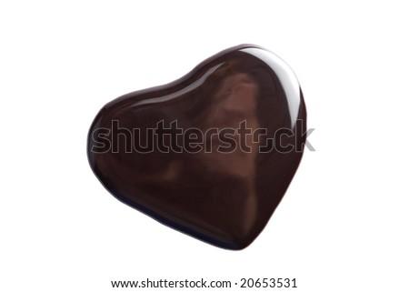 liquid dark chocolate in heart shape isolated