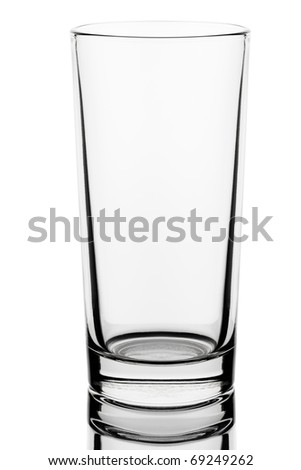 Liquid drink water faceted glass isolated on white