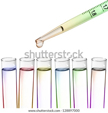 Liquid drop from laboratory glass Pipette