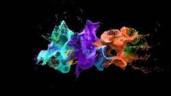 liquid explosion on black 3d illustration