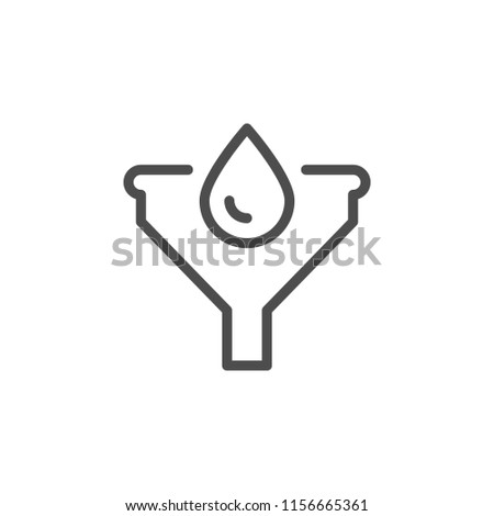 Liquid filtration line icon isolated on white