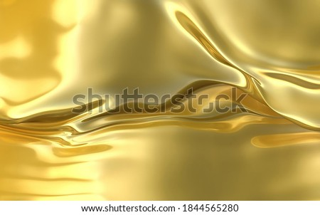 Liquid gold flows down. Gold shimmers in the light. Photo stock ©