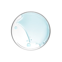 Liquid in petri dish over white background - flat lay