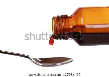 Liquid medicine dropping from a bottle on a spoon