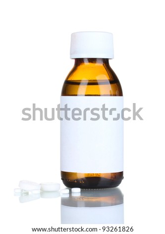 Liquid medicine in glass bottle and pills isolated on white