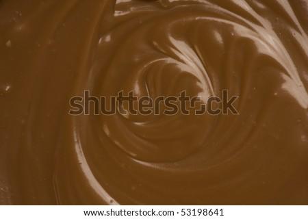 Liquid Melted rich dark Chocolate detail. Close-up.