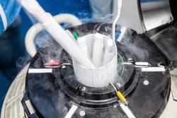 Liquid nitrogen cryogenic tank at life sciences laboratory