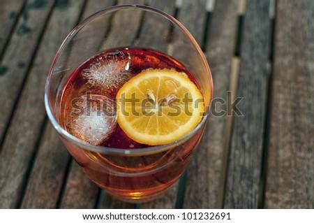 liquid red alcohol cocktail