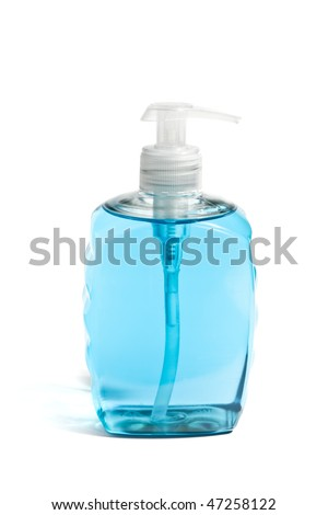 Liquid Soap In A Blue Bottle Isolated Over White