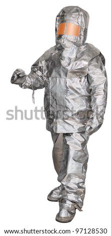 Liquidator man-made disaster in a fire proximity suit. Isolated on white