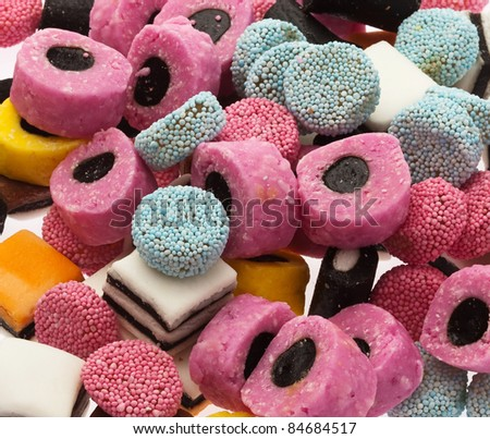 liquorice colorful jelly pile, extreme closeup photo