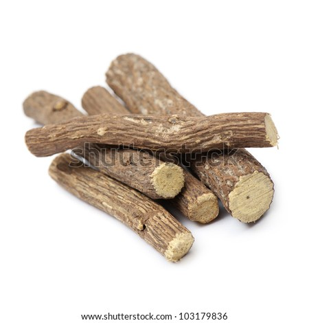 liquorice root, on white background