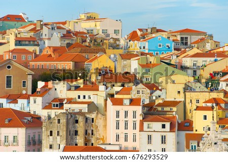 lisabon old town buildings at...