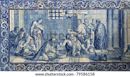 Lisbon azulejos on facade of the old building
