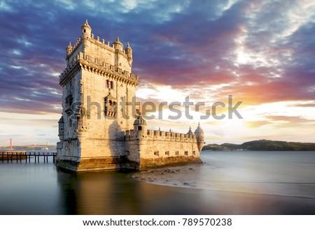Lisbon, Belem tower at sunset, Lisboa - Portugal