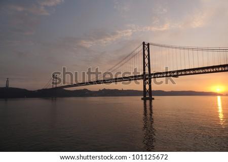 Lisbon Bridge at Sunset & Statue of Jesus Christ