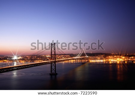 Lisbon City view at night time, with space for caption above - stock photo