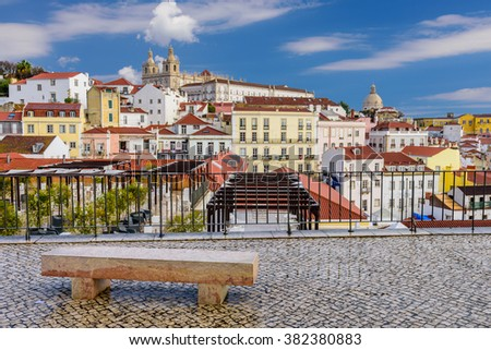 Lisbon cityscape - traditional architecture, Alfama district, Lisbon, Portugal.