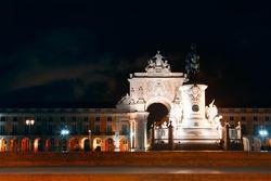 Lisbon Downtown in the nighttime . Lisboa Praca do Comercio illuminated in the night