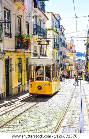 lisbon, elevador da Bica connects the city center with the high bairro district #1126892570