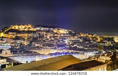 Lisbon old town and the Castle of Sao Jorge at night, Portugal