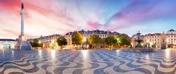 Lisbon panorama in Rossio square, Portugal