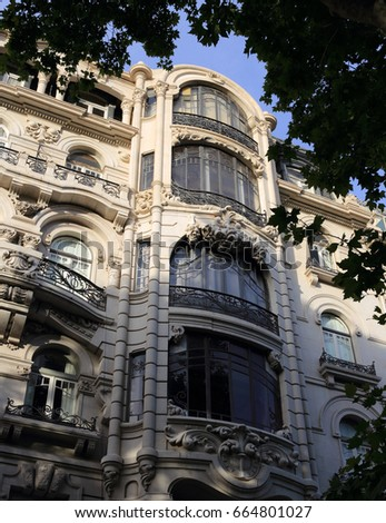 Lisbon, Portugal. An ornate Art nouveau building facade in the Avenida da Liberdade, the prestigious avenue and boulevard which is home to the top international brand names in downtown Lisbon.   #664801027