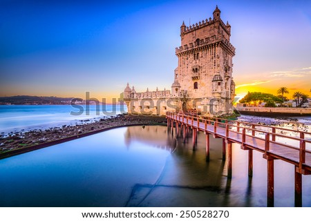 Shutterstock Lisbon, Portugal at Belem Tower on the Tagus River.