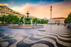 Lisbon, Portugal cityscape at Rossio Square.