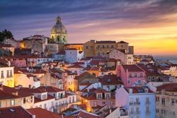 Lisbon, Portugal. Cityscape iImage of Lisbon, Portugal during dramatic sunrise.