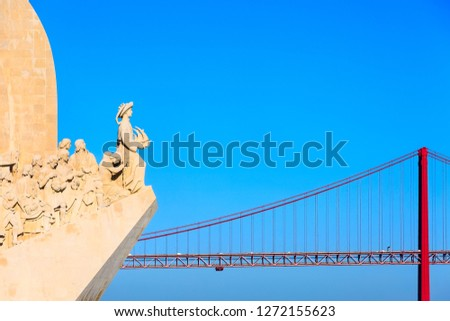 Lisbon, Portugal copy space background River Tagus, Ponte de 25th Abril bridge and Monument to the Discoveries dedicated to the Portuguese Explorers
