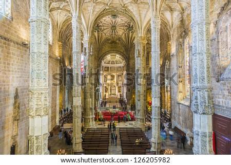 LISBON, PORTUGAL - DEC 30: beautiful Church Santa Maria on Dec 30,2012 in Lisbon, Portugal. Diogo Boitac laid the foundations for this three-aisled church with five bays under a single vault.