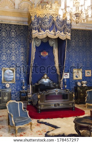 Lisbon, Portugal, December 02, 2013: The Queen Bedroom of the Ajuda National Palace, Lisbon, Portugal - 19th century neoclassical Royal palace. #178457297