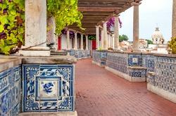 lisbon. Portugal. Famous viewpoint Miradouro de Santa Luzia in the Historic Alfama. Typical Azulejo tiles in Portugal.