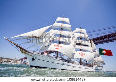 """LISBON, PORTUGAL - JULY 22: """"Sagres"""" in The tall ships races July 22, 2012 in Lisbon, Portugal"""
