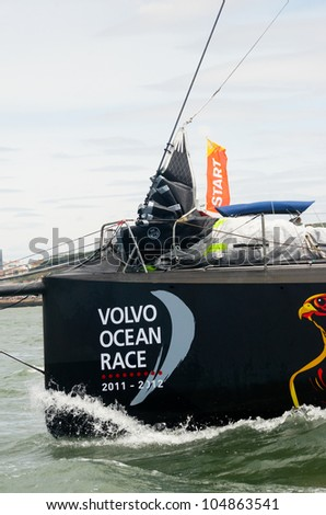 LISBON, PORTUGAL - JUNE 9: Abu Dhabi Ocean Racing Volvo Ocean Race - Lisbon StopOver - Harbour Race June 9, 2012 in Lisbon, Portugal