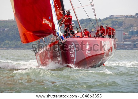 LISBON, PORTUGAL - JUNE 9: Camper Team in Volvo Ocean Race - Lisbon StopOver - Harbour Race June  9, 2012 in Lisbon, Portugal