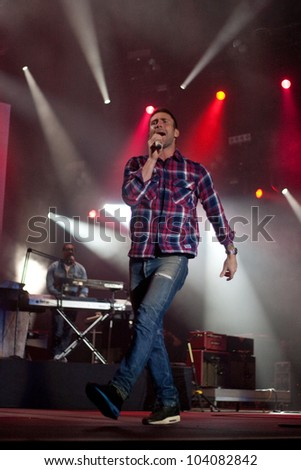 LISBON, PORTUGAL - JUNE 1:  Maroon 5 performing on stage in day 3 of Rock in Rio Lisboa June 1, 2012 in Lisbon, Portugal