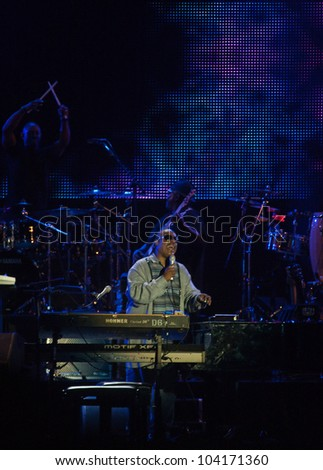 LISBON, PORTUGAL - JUNE 2: Stevie Wonder performing on stage in day 4 of Rock in Rio Lisboa June 2, 2012 in Lisbon, Portugal