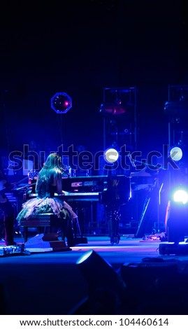 LISBON, PORTUGAL - MAY 25: Evanescence performing on stage in day 1 of Rock in Rio Lisboa May 25, 2012 in Lisbon, Portugal