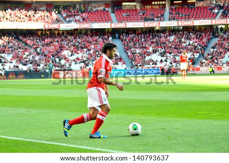 LISBON, PORTUGAL - MAY 19: Sport Lisboa e Benfica team VS Moreirense team in the last game for National league .Salvio, SLB player during the game.  Lisbon - Portugal, 19 May 2013