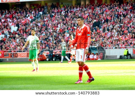 LISBON, PORTUGAL - MAY 19: Sport Lisboa e Benfica team VS Moreirense team in the last game for National league .Oscar Cardozo, number 7 of SLB team.  Lisbon - Portugal, 19 May 2013