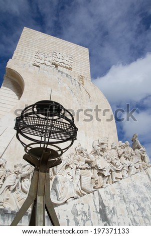 LISBON, PORTUGAL - MAY 28, 2014: The Monument to the Discoveries in Lisbon. The monument celebrates the Portuguese Age of Discovery during the 15th and 16th centuries.