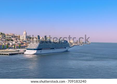 LISBON, PORTUGAL - SEP 27, 2016 : Cruise ship Celebrity EQUINOX (Celebrity Cruises) docked in port of Lisbon, Portugal, Europe on september 27th, 2016