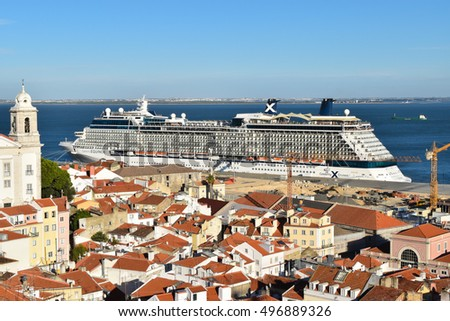 LISBON, PORTUGAL: SEP 26, 2016: Cruise ship Equinox (Celebrity Cruises)  docked in port of Lisbon on september 26th, 2016.