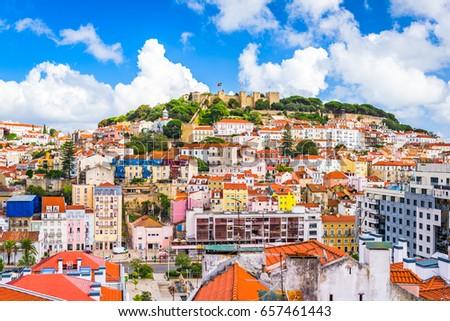 Lisbon, Portugal skyline at Sao Jorge Castle. #657461443