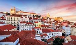 Lisbon, Portugal town skyline at Alfama.